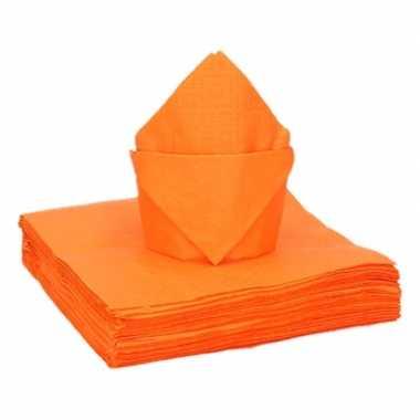 100x oranje kleine cocktail servetten 25 x 25 cm kopen