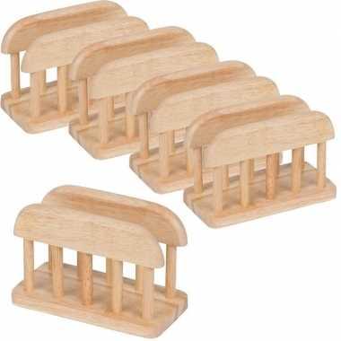 10x servethouder/standaard van hout 15 cm kopen