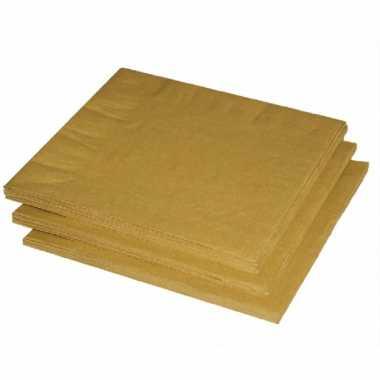 120x stuks gouden kleuren thema servetten 33 x 33 cm kopen