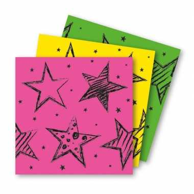 12x papieren servetjes roze, groen en geel thema feestartikelen 33 x