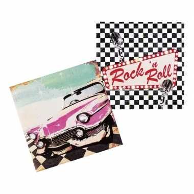 12x rock en roll thema servetten 33cm