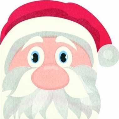 12x rode kerst tafelversiering kerstmannen papieren servetten kopen