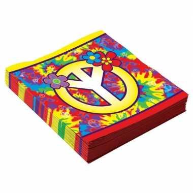 16x hippie themafeest servetjes 33 cm kopen