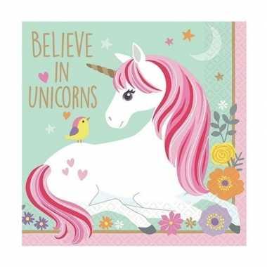 16x papieren servetjes unicorn print 25 x 25 cm kopen
