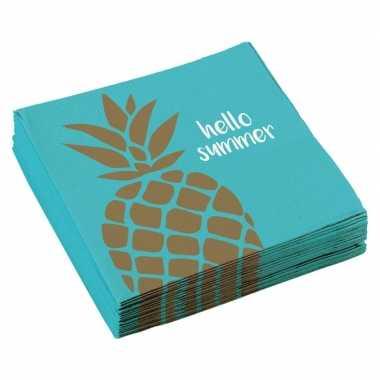 20x ananas thema servetten 33cm kopen