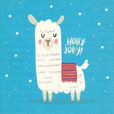 20x blauwe kerst tafelversiering lama/alpaca papieren servetten kopen