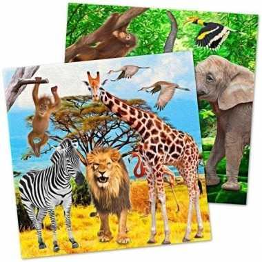 20x dieren verjaardag servetjes 33 cm kopen