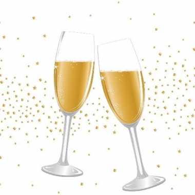 20x kerst/nieuwjaar servetjes met champagneglazen 33 x 33 cm versieri