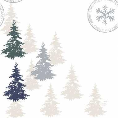 20x kerst servetjes met kerstbomen print 33 x 33 cm versiering/decora