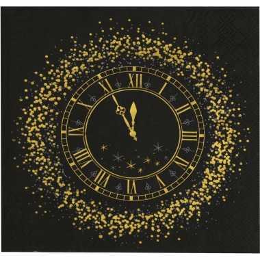 20x oud en nieuw/nieuwjaar thema servetten met gouden klok 33 x 33 cm kopen