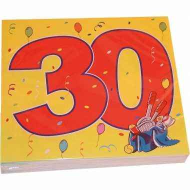 20x papieren servetjes 30 jaar confetti thema feestartikelen 33 x 33
