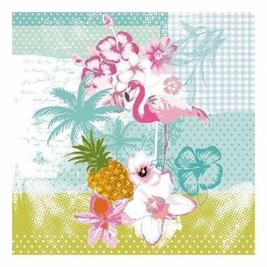 20x papieren servetjes tropische vogel print 33 x 33 cm 10121160