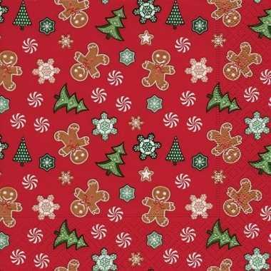 20x rode kerst tafelversiering snoepgoed papieren servetten kopen
