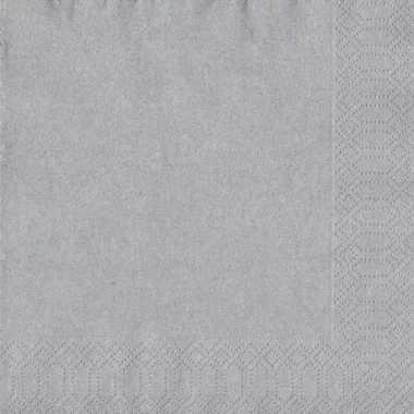 20x zilveren kerst servetjes 33 x 33 cm versiering/decoratie kopen