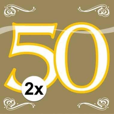 2x party gouden servetten 50 jaar 20 stuks kopen