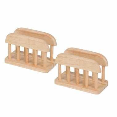 2x stuks servethouders/standaard van hout 15 cm kopen