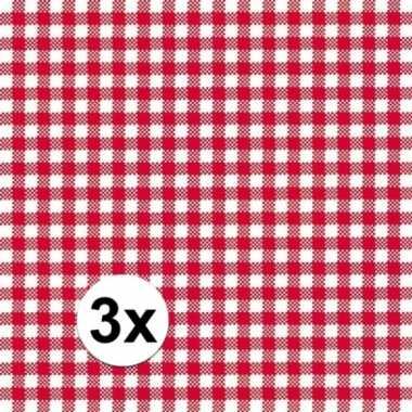 3x pakjes oktoberfest lunchservetten met een ruit print rood/wit 3-la