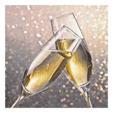 40x champagne thema servetten met glazen 33 x 33 cm kopen