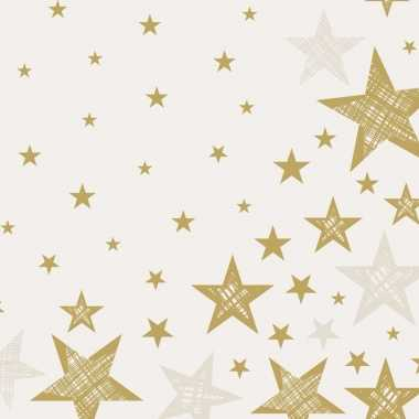 40x creme witte/gouden kerst servetjes met ster print 33 x 33 cm vers