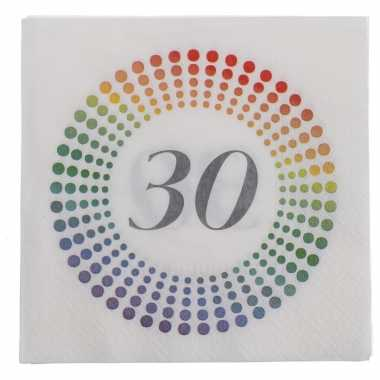 40x leeftijd 30 jaar themafeest/verjaardag servetten 33 x 33 cm confetti kopen