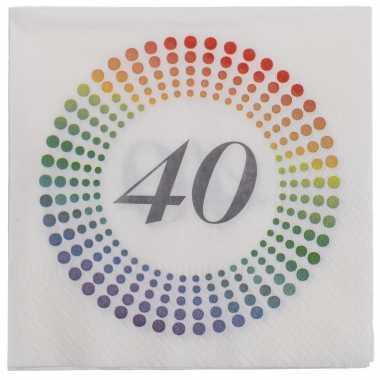 40x leeftijd 40 jaar themafeest/verjaardag servetten 33 x 33 cm confetti kopen