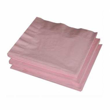 40x licht roze kleuren thema servetten 33 x 33 cm kopen