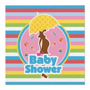 40x papieren servetjes babyshower gekleurd/zwart thema feestartikelen