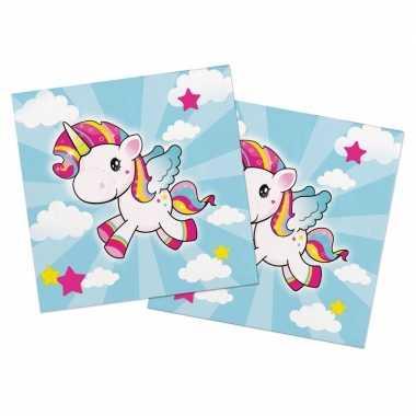 40x papieren servetjes eenhoorn gekleurd thema feestartikelen 33 x 33