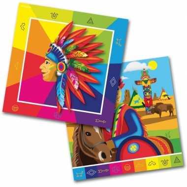40x papieren servetjes indiaan/indianen thema feestartikelen 33 x 33