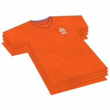 40x papieren servetjes oranje voetbal thema feestartikelen 16 x 15 cm