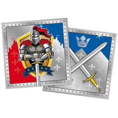 40x papieren servetjes ridder thema feestartikelen 33 x 33 cm