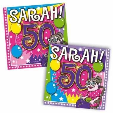 40x papieren servetjes sarah 50 jaar thema feestartikelen 25 x 25 cm