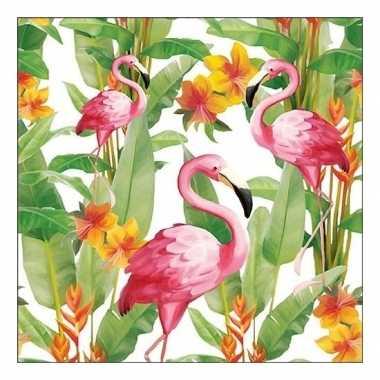 40x papieren servetjes tropische vogel print 33 x 33 cm