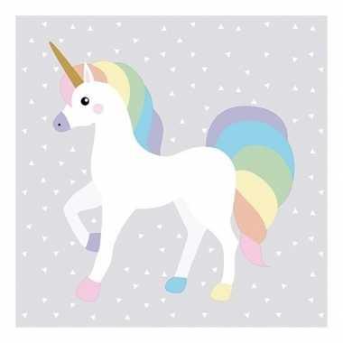 40x papieren servetjes unicorn print 33 x 33 cm kopen