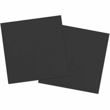 40x stuks servetten van papier zwart 33 x 33 cm kopen