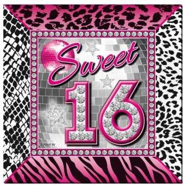 40x sweet 16 servetten wegwerpservies kopen