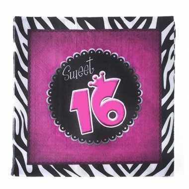 40x verjaardag thema feest servetjes 33 x 33 cm print sweet 16 kopen