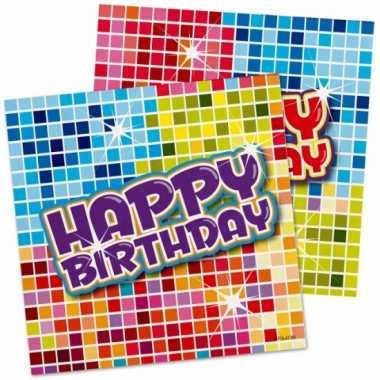 48x papieren servetjes happy birthday thema feestartikelen 25 x 25 cm