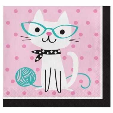 48x thema servetjes katten kopen