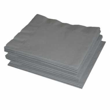 50x zilveren kleuren thema servetten 41 x 41 cm kopen