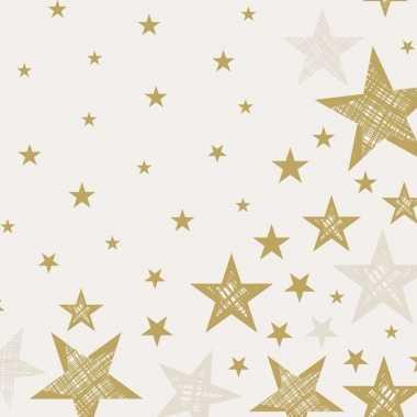 60x creme witte/gouden kerst servetjes met ster print 33 x 33 cm vers