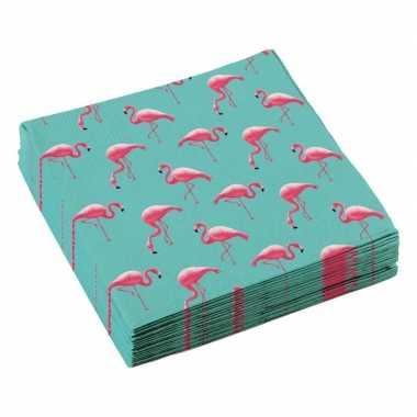 60x flamingo thema servetten 33cm kopen