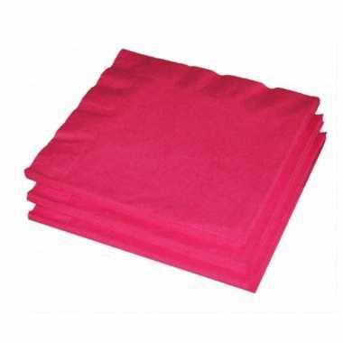 60x fuchsia roze kleuren thema servetten 33 x 33 cm kopen