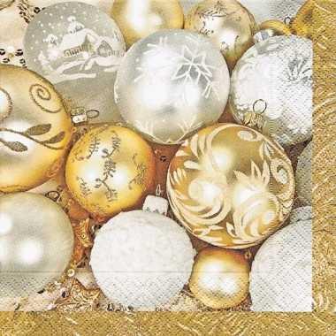 60x gouden kerst servetten met kerstballen kopen