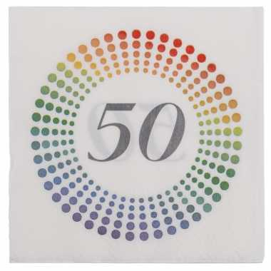 60x leeftijd 50 jaar themafeest/verjaardag servetten 33 x 33 cm confetti kopen