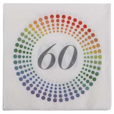 60x leeftijd 60 jaar themafeest/verjaardag servetten 33 x 33 cm confetti kopen