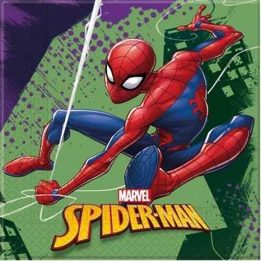 60x marvel spiderman feestartikelen servetjes 33 x 33 cm papier