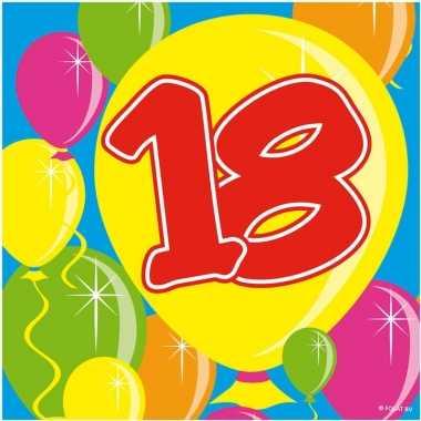60x papieren servetjes 18 jaar balloons thema feestartikelen 25 x 25