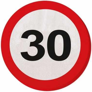 60x papieren servetjes 30 jaar verkeersbord thema feestartikelen 33 c