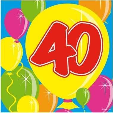 60x papieren servetjes 40 jaar balloons thema feestartikelen 25 x 25